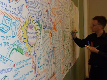 A photo of me speedily graphic recording at an organisation's leadership workshop